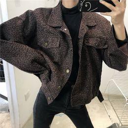 2019 chaqueta recta vintage Vintage otoño primavera chaqueta de leopardo Streetwear recto manga Loong Turn-down cuello bolsillo abrigo suelto moda mujer Cardigan chaqueta recta vintage baratos