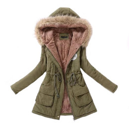 frauen militärparka Rabatt Frauen Parka beiläufige Outwear Herbst-Winter-Military Mantel mit Kapuze Winterjacke Frauen-Pelz-Mäntel Damen Winter Jacken und Mäntel