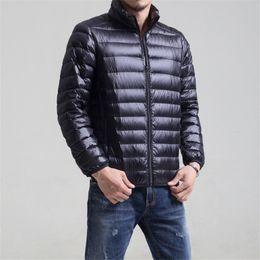 alto levantar colarinho Desconto Cor sólida listra moda casual stand-up de gola de pato jaqueta de inverno 2018 Nova alta qualidade de Nylon fino para baixo jaqueta homens S-3XL