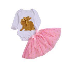 mameluco de conejo Rebajas Baby Girls Ropa Conjuntos Golden Rabbit Girl Romper Dot Faldas 2 UNIDS Conjunto Conejito de Pascua Princesa Mamelucos Niños Ropa Niños Ropa 50 lotes YW1986