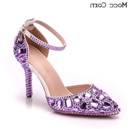 Billige blaue sandalen online-Billige schuhe hochzeit high heels spitz party prom kristall weiß braut kleid frau pumpt dame sandalen gold lila blau