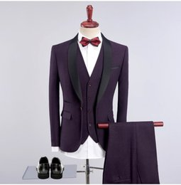 2019 gilet viola Custom Made Slim Fit Smoking Smoking dello sposo Risvolto One Button Uomini Blazer da sposa Uomini Business Party Suit (Jacket + Pants + Tie + Vest) sconti gilet viola