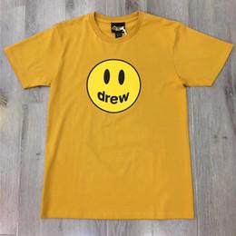mulher sorriso t shirt Desconto Camiseta Justin Bieber de Drew Casa Homens Mulheres Amarelo Cor Preto Sorriso T-shirt Camisetas de Drew Casa