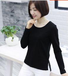 2019 camiseta de las mujeres de bambú 2019 nueva camisa de primavera y otoño para mujer camisa de algodón de manga larga camisa de algodón de bambú suelto de gran tamaño camiseta de las mujeres de bambú baratos
