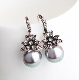2019 araña multicolor 2019 Pendientes de lujo para la Mujer temperamento Perla nuevo pendiente de la flor joyería de plata sol femme earing orecchini bijoux