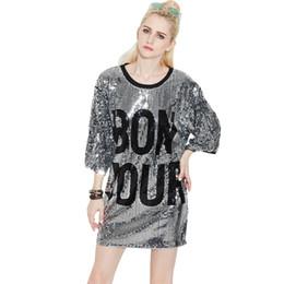 Pailletten Halbarm T-Shirt Jazz Dance Wear Hip Hop Street Dance Kostüme Bühnenauftritt Kleid lose Rundhals T-Shirts von Fabrikanten