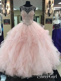 fcada6b163b see quinceanera dress Coupons - Prom Ball Gown See Through Neck Tulle Light Pink  Quinceanera Dresses