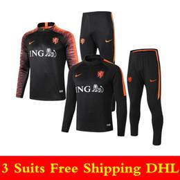 dd39fae2182db 18 19 Selección nacional holandesa de fútbol chándal Traje de entrenamiento  Dijk 2019 Holland Orange Half Zipper Ropa deportiva Uniforme de fútbol  holandés