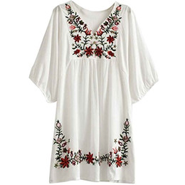 26d844fd0 Kafeimali Vestido de verano Con cuello en v Bordado mexicano Vestido de  mujer campesina Tops Blusas rebajas blusas mexicanas