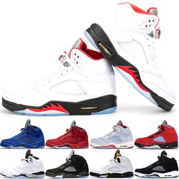 sports fire Coupons - 2020 Fire Red 5s Men Basketball Shoes 5 Mens Laney Yellow Bred Red Suede White Cement Metallic Black Designer Sports Sneaker Size 41-47