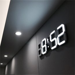 Orologio digitale a parete online-3D LED Alarm Clock Modern Digital Table Desktop Orologio da parete Nightlight Saat Wall Per Home Living Room Office 24 o 12 ore