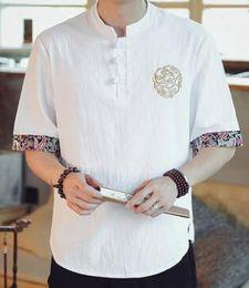 T-shirts blancs vierges en Ligne-T Shirt 2019 Hommes Été Mode Haute Qualité Gris jaune Blanc Lin Lin Manches Courtes Blanc Style Chinois Facile loisirs T-Shirt 15