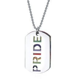 2019 orgulho jóias Titanium aço rainbow placa pingente de colar para manwoman sliver cor PRIDE placa rainbow metal colorido pingente de presente da jóia desconto orgulho jóias