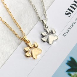 cute foot chain Coupons - Trendy Lovely Dogs Kitten Cat Claw Pendant Silver Gold Alloy Charms Cute Animal Feet Footprint Necklace Charm For Girls