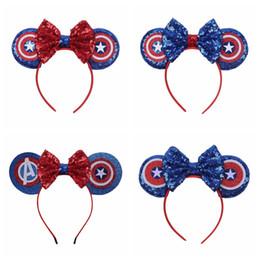 Headbands américa on-line-Vingadores Baby Bow Headband Crianças Meninas Lantejoula Capitão América Cabelo Varas Crianças Headwear Moda Acessórios Para o Cabelo TTA929