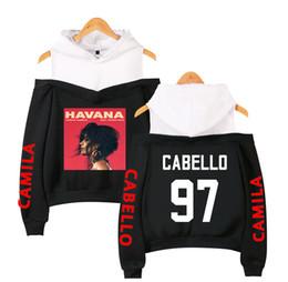Sudaderas coreanas lindas online-2019 Camila Cabello logo impreso sudadera con capucha Harajuku Kawaii rosa fuera del hombro sudadera con capucha coreano lindo Streetwear más tamaño