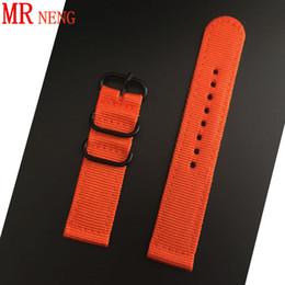 correa nato zulu Rebajas MR NENG Comercio al por mayor 18mm 20mm 22mm 24mm Nato Nato Watch Band Color sólido naranja para Zulu Nylon Watch Band correas anillo negro