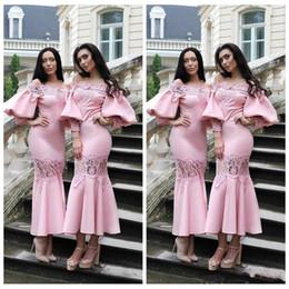 le signore partono camicie maniche Sconti 2019 Custom Slim Juliet Sleeves Tea Length Abiti da damigella d'onore rosa Appliques in pizzo Abiti da ballo da ballo formale Brevi damigelle d'onore Abbigliamento donna