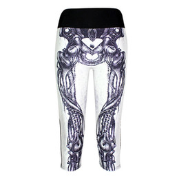 skeleton yoga pants Promo Codes - Sports Cropped Women Fitness Capri Pants High Elastic Bodybuilding Yoga Trousers Lady 7 Points Human Skeleton Bone LN77Slgs