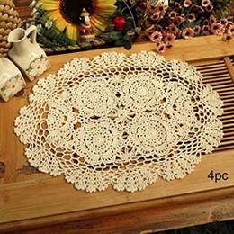 Centrini di tovagliette in pizzo di cotone all'uncinetto 4pz, ovali, beige, 12 x 17 pollici da crochet placemats fornitori