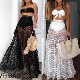Hot 2019 Mulheres Longo Maxi Saia de Malha de Renda de Cintura Alta Bolinhas Festa Casual À Noite Moda Sexy Sheer Senhora Ver Através Saias de