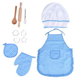 11pcs enfants prétendent jouer un rôle enfants cuisine et cuisson ensemble cuisine costume jeu de rôle kits tablier chapeau jouer à faire semblant jouets T6 # ? partir de fabricateur