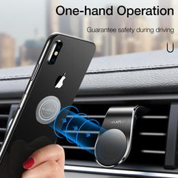 cartão de plástico para placa de plástico Desconto Suporte magnético do telefone do carro para o iPhone Samsung Xiaomi L-tipo Suporte móvel do respiradouro de ar do carro para o telefone no ímã forte do carro
