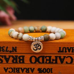 Om yoga pulseiras on-line-Moda Pulseira de Contas de Pedra Natural Fosco amazonita contas com Lotus OM Buddha Charme Pulseiras Yoga 108 Contas