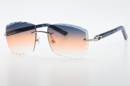 Óculos de sol azul on-line-2019 Fornecedores Superior Atacado olho de gato óculos de sol Mármore Azul Braços Astecas 3524012 Óculos de sol óculos de sol do desenhador do vintage Com caixa