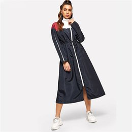 Digitare il club online-Weekend Casual Multicolor Vita coulisse Zip Color Block Dress Solid Stand Collar Dress Donna Autunno Tipo Dress