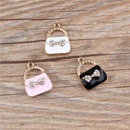 3 Color Fashion 10pcs lot Bow Rhinestone Lady bag Enamel Charms Fit DIY Bracelet Necklace Hair Pendant Jewelry Accessory DIY Craft