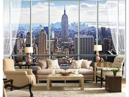 Custom 3d Silk Photo Mural Wallpaper 3d Stereo Window New York Living Room Tv Sofa Background Mural Wall Sticker Papel De Parede