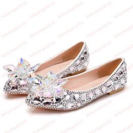 2019 золушка квартиры Crystle Золушка обувь горный хрусталь плоский каблук Женская обувь сексуальная женщина свадебное платье обувь квартиры большой размер скидка золушка квартиры