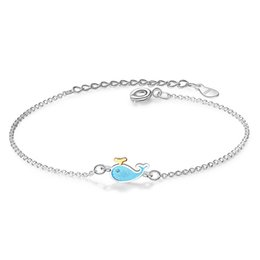 cute bracelet korean fashion Coupons - XIYANIKE 925 Sterling Silver Fashion Korean Style Cute Whale Bracelet Blue Little Dolphin For Women Friendship 2019 Jewelry Gift