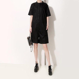 korean style jumpsuits Coupons - New 2019 Korean Style Women Solid Black Stylish Romper Jumpsuits Casual Playsuits Short Sleeve Female Unique Wear Jumpsuit F609