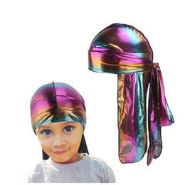 2019 отец дети длинный шелковый лазерный дышащий бандана тюрбан шляпа парики Doo Durag байкер кепка головной убор пиратская шляпа аксессуары для волос от
