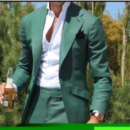 2019 smoking vert décontracté Tailleur Vert Hommes Costume Slim Fit Marié Robe De Bal Blazer 2 Piece Tuxedo Casual Plage Style D'été Mâle Manteau Veste + Pantalon Terno promotion smoking vert décontracté
