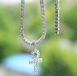 Canada Collier pendentif croix hip hop pour homme bijoux avec collier de chaîne de tennis plaqué or blanc or bijoux Offre