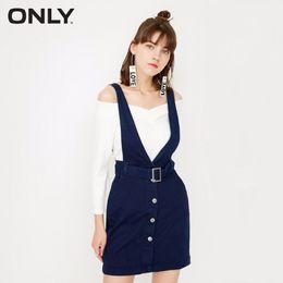 Seulement les robes des femmes en Ligne-Only Women 2-Set Set Cravate Simple à la taille avec lien à la taille Robe en jean Femme T4190604