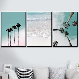 Paraguas de lona online-Coconut Palm Tree Pink Beach Sea Umbrella Wall Art Canvas Painting Nordic Posters And Prints Wall Pictures For Living Room Decor