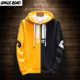 Translate exception! on-line-Mens Hoodies Homens Spring Japonesa Streetwear Patchwork Casual camisola Male Hip Hop Yellow Hoodie Treino Homens