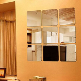 adesivos adesivos espelho Desconto 6 pçs / lote superfície quadrada auto-adesivo adesivo de parede de estilo europeu de luxo adesivo de parede de ouro wc banheiro espelho à prova d 'água 10 lote dhl