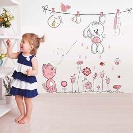 Décor de chambre de chat en Ligne-Rose Cartoon Chat Lapin Fleur Sticker Mural Pour Bébés Filles Enfants Chambres Décor À La Maison Teddy Bear Parapluie Classe Stickers Muraux