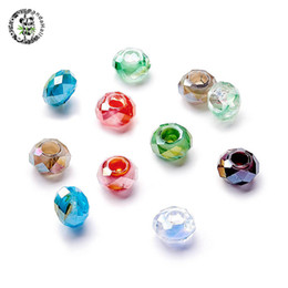 100pc Faceted Glass European Large Hole Beads Double Core Rondelle Charms 14x8mm