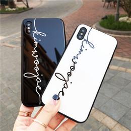 Aplicável iphone xs max personalidade inglês shell de vidro iPhone 8 plus espelho pintado escudo do telefone móvel 7plus casal modelos tampa traseira X cheap paint mobile cover de Fornecedores de pinte a tampa móvel