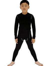 skins underwear Promo Codes - Boys & Girls Long Sleeve Compression Shirts and Pant 2 Pcs Set Long Underwear Set Skin Base Layer Tops Bottom Moisture Wicking