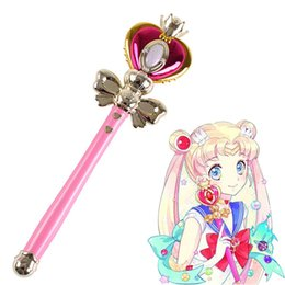 sailor moon anime figures Promo Codes - [TOP] Light Sailor Moon Wand Magic Henshin Rod Musical Glow Heart Stick Sailor Moon Crystal Anime Figure Cosplay Toy Girl Gift