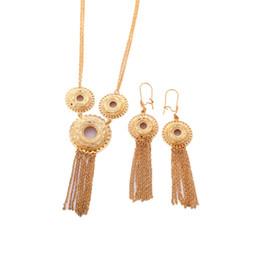 Gold anhänger halskette indien online-New Ethiopian Quaste Anhänger Schmuck Frauen 24 Karat Gold Farbe Halskette Ohrringe Indien Afrikanische Dubai Äthiopien Nigeria Arabisch