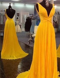Giallo Chiffon Backless Pageant Abiti da sposa Moda donna Elegante abito da sposa Occasioni speciali Prom Damigella d'onore Party Dress 17LF873 da