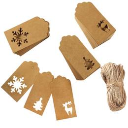 2019 etichette ad albero 150 pezzi Natale Kraft Tag Carta Kraft Regalo Hang Etichette Alberi di Natale Fiocco di neve Forma di cervo Decorazione natalizia etichette ad albero economici